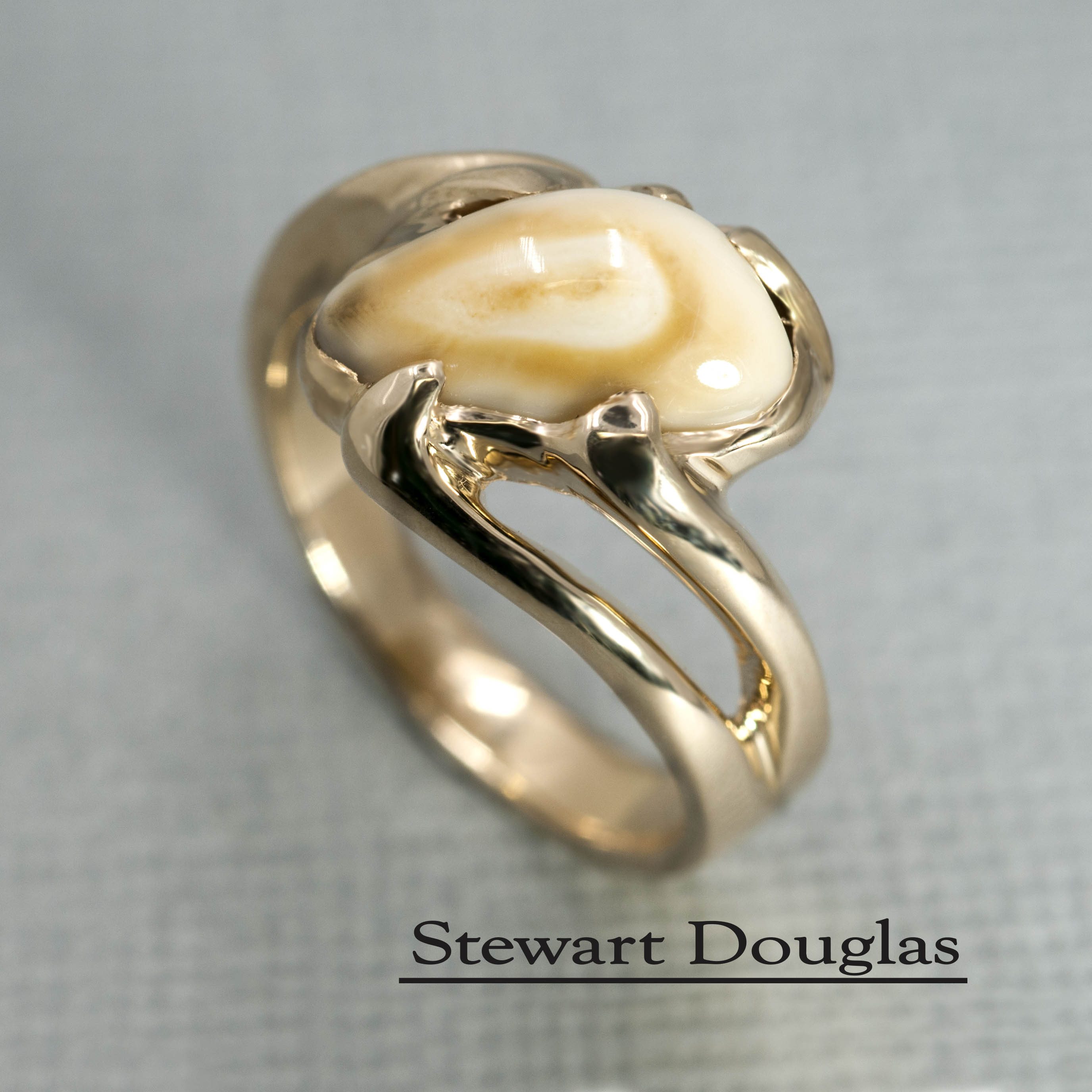 band by s gold elk wedding rings bands and products inlays ivory tooth antler mens divided rose men